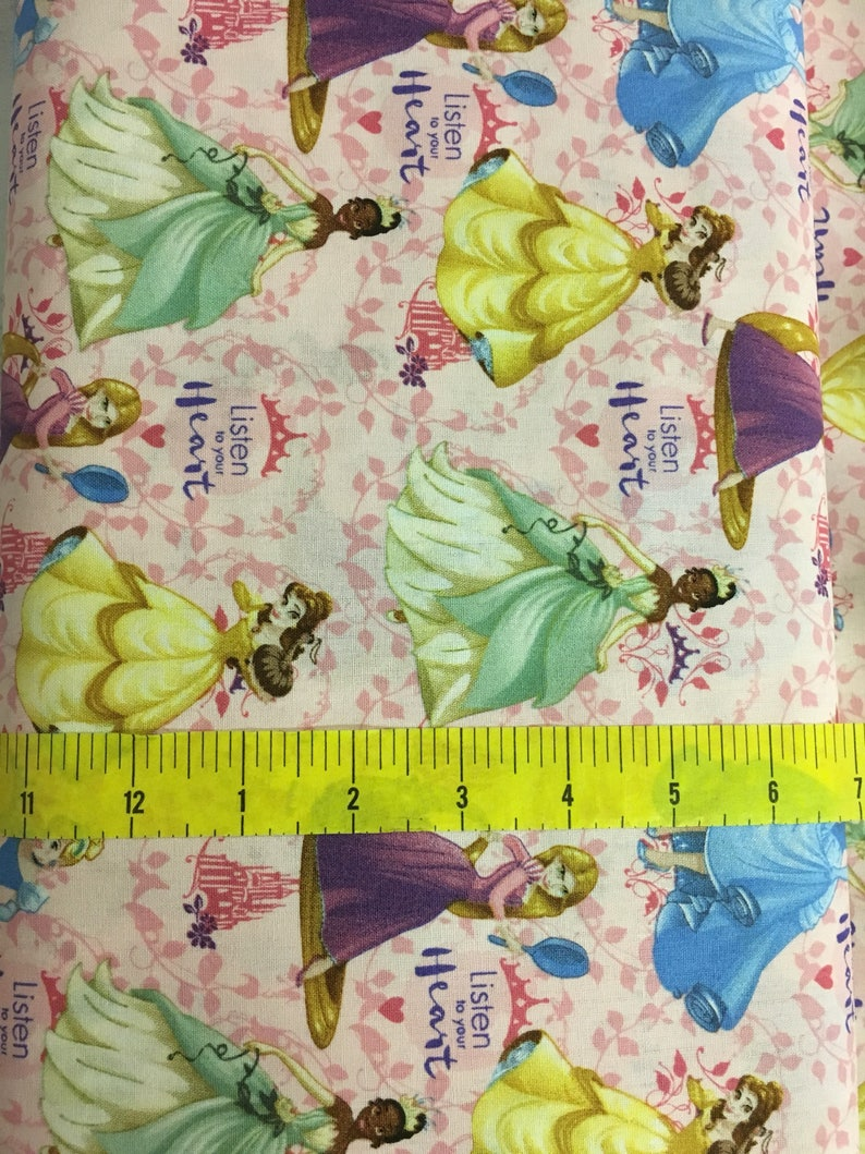 Disney Princess Listen To Your Heart 100/% Cotton Fabric by the Yard