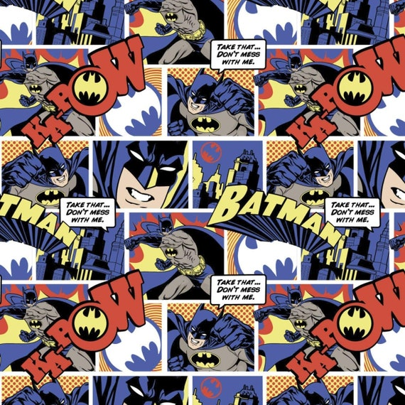 Priced per 12 Yard Batman Collage Licensed Cotton Fabric from Camelot Fabrics