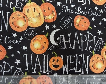 """Halloween Fabric, Halloween The Boo Crew Pumpkins by Springs Creative  100% cottonFabric by the yard 36""""x44"""" (SC238)"""