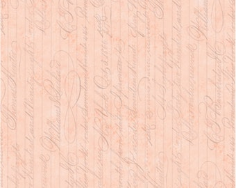 Words Fabric: La Vie En Rose SCRIPT Light Cameo by Quilting Treasures 100% cotton fabric by the yard  (QT509)