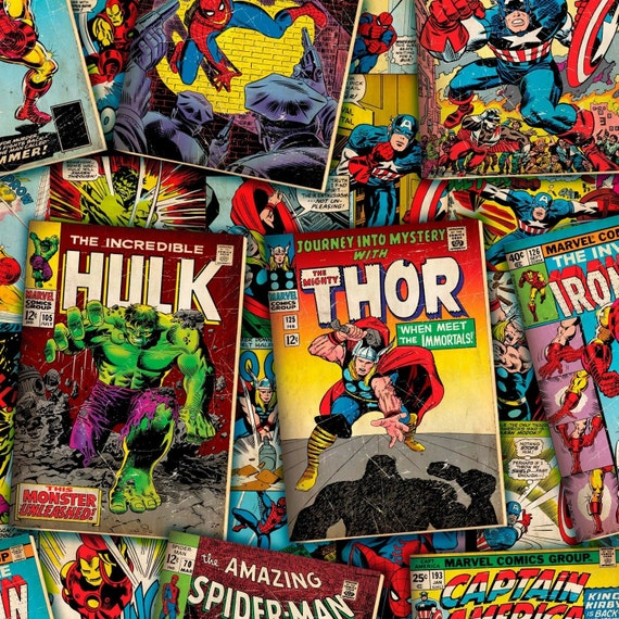 Camelot Marvel Captain America Comic Book Covers 1 Yard Quilt Cotton Fabric