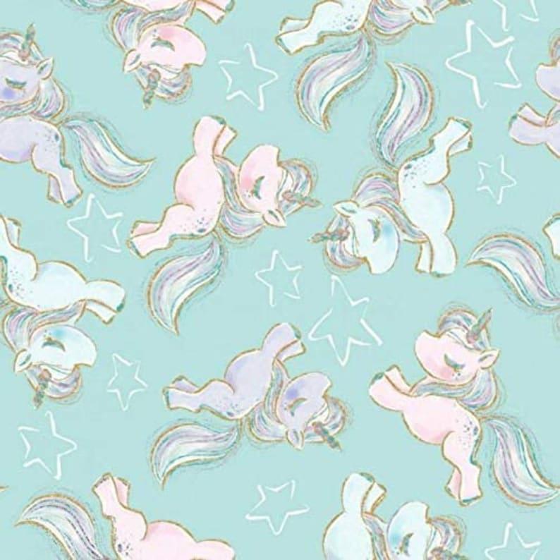 Unicorn Fabric Fabric Editions 3 Wishes Unicorn Sparkle Prancing Unicorns Turquoise 100/% cotton Fabric by the yard Nursery Fabric M530KK