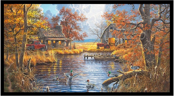 Lake Fabric, Cabin Fabric:  Elizabeth's Studio Good Old Days Autumn Woods with Ducks Water and Boats 100% cotton fabric by the panel (ES504)