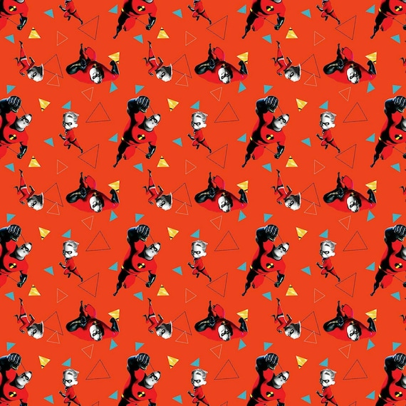 Cartoon Fabric, Incredibles 2 Fabric:  Mr Incredible And Dash by Springs Creative 65468 100% cotton fabric by the yard (SC1466)
