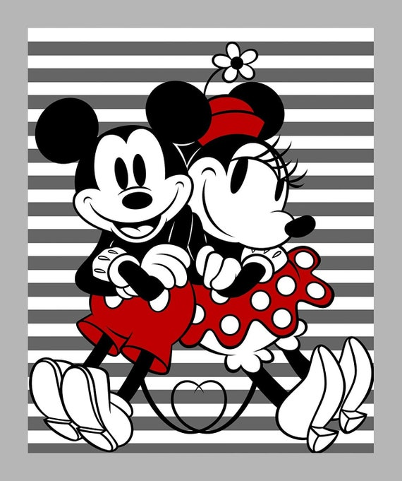 """Mickey Fabric, Disney Fabric: Disney Mickey and Minnie Striped 35"""" Panel by Springs Creative 100% cotton Fabric By The Yard (SC1515KK)"""