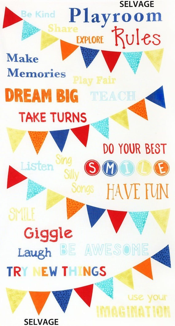 """Timeless Treasures Playroom Party Rules Panel Gail C5117 Ivory 100% cotton Fabric by the PANEL 23.5""""x43""""  (TT670)"""