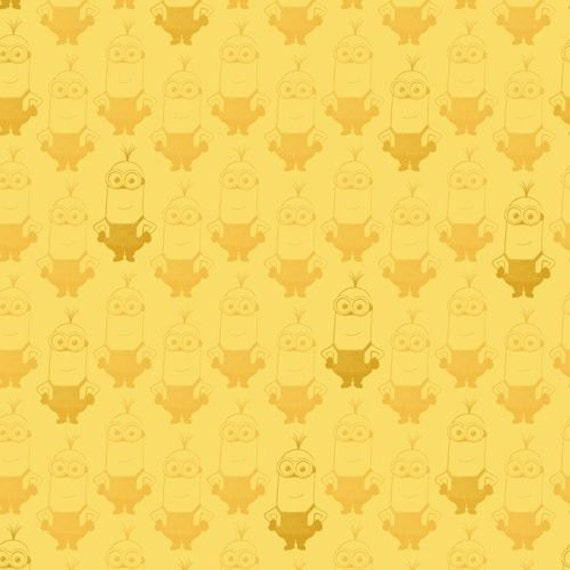 """Minion fabric, Cartoon Fabric: Despicable Me Minion KEVIN TONAL BLENDER Yellow 100% cotton Fabric by the yard 36""""x43"""" (M22)"""