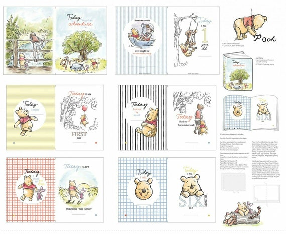 Disney Winnie the Pooh Soft book Panel with Tigger, Piglet, Eeyore - Classic Pooh Fabric book 100% cotton fabric by the PANEL (SC1125AA)