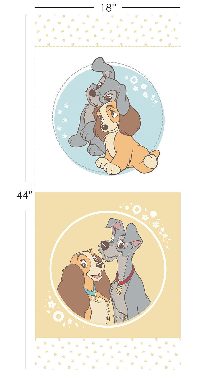 Camelot Disney Lady and the Tramp Panel 100% cotton Fabric by   Etsy