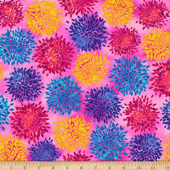 Flower Fabric: Quilting Treasures Fabric Mirage Floral Pink 100% cotton Fabric by the yard (QT1083)