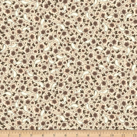 Flower Fabric: QT Fabrics Lost Song Packed Flowers Fabric, Cream 100% cotton Fabric by the yard (QT812)