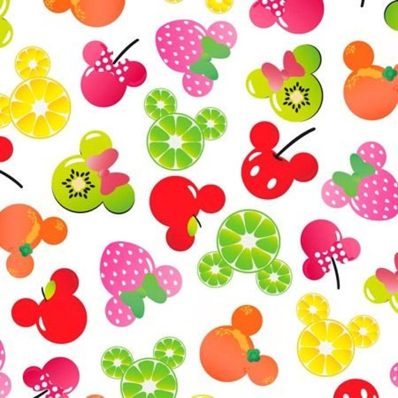 Disney Fabric: Disney Mickey Mouse, Mickey and Friends, Mickey Minnie Fruit on White Mickey Citrus 100% cotton fabric by the yard   (A296)