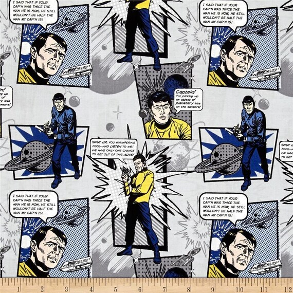 Star Trek Galaxy Pop Spock /& Kirk Navy Camelot 100/% cotton  Fabric by the yard
