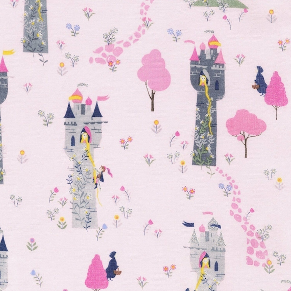 Timeless Treasures ~ PRINCESSES PINK w// Glitter ~ 100/% Cotton Quilt Fabric BTY