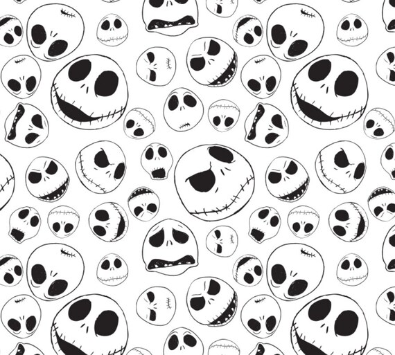 Disney Nightmare Before Christmas Jack Faces White Cotton fabric by the yard