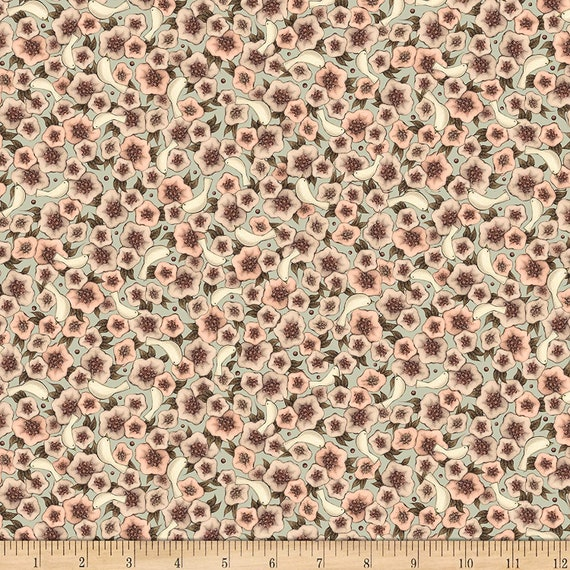 Flower Fabric: QT Fabrics Lost Song Packed Flowers Fabric, Light Dusty Teal 100% cotton Fabric by the yard (QT804)