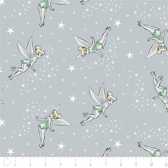 Camelot Disney Tinkerbell 85400102 2 Mint Silhouettes BTY Cotton