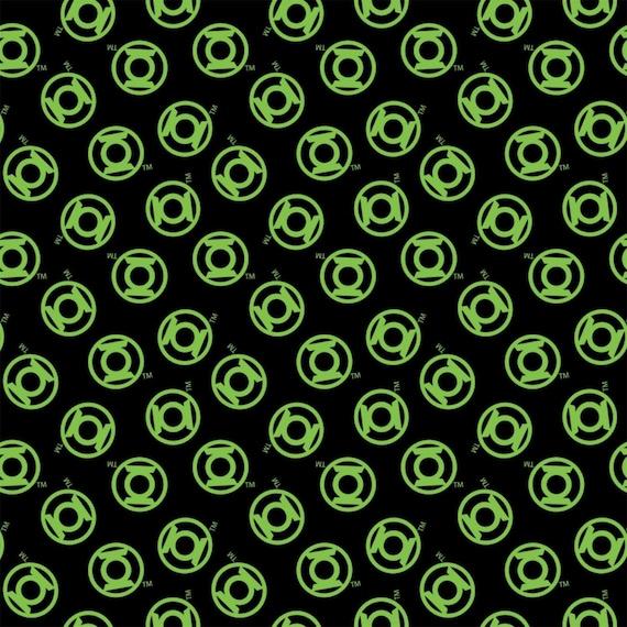 DC Comics Fabric, Green Lantern Fabric, Superhero Fabric: Camelot Green Lantern Logo Toss Black 100% cotton Fabric by the yard (CA1438KK)