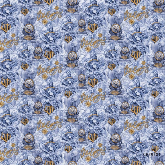 Christmas Fabric, Train Fabric: Disney Movie The Polar Express Trains Toss by Springs Creative 100% cotton fabric by the yard (SC943)