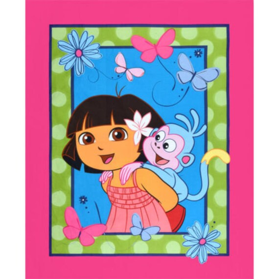 Nickelodeon fabric Panel- One Hip Explorer Dora Fabric with Boots 100% cotton fabric by the PANEL SC302