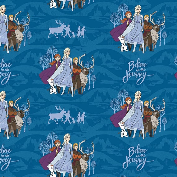 Disney Fabric: Camelot Frozen 2 Collection Journey Together Characters Blue  100% cotton fabric by the yard (CA1337KK)