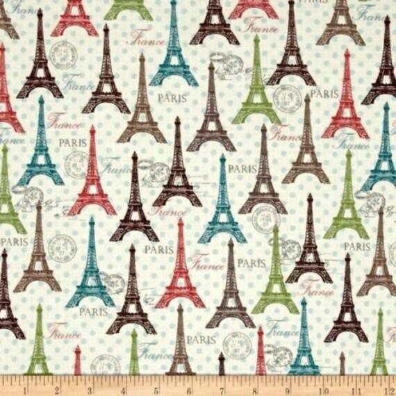 Floral Fabric, Paris Eiffel Tower Fabric: David Textiles Spring Rosenthal Represents Eiffel Towers Toss Premium 100% cotton Fabric (DA49)