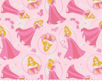 Disney Princess Fabric: Camelot Sleeping Beauty Princess Aurora Pink  100% cotton Fabric by the yard (CA298)