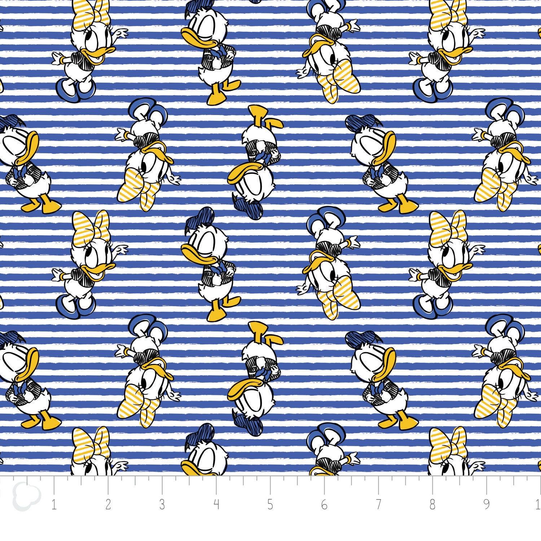 Disney Fabric Disney Daisy Donald Duck In Royal Blue Stripe By