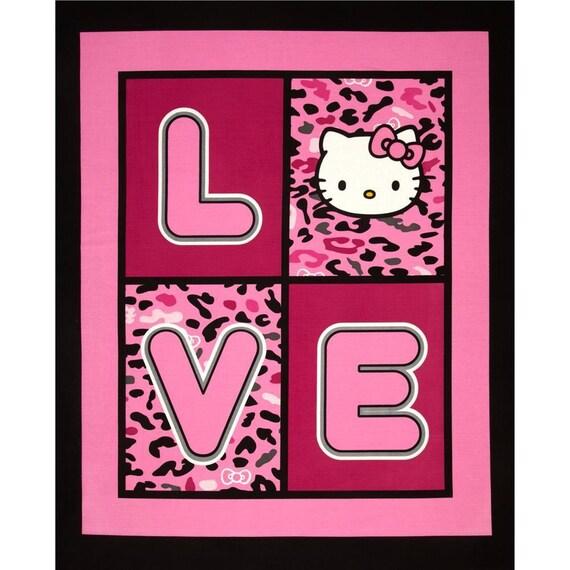 "Hello Kitty Fabric, Nursery Fabric : Sanrio Hello Kitty Cheetah Love Panel 100% cotton Fabric by the PANEL 36""x43""(SC63)"