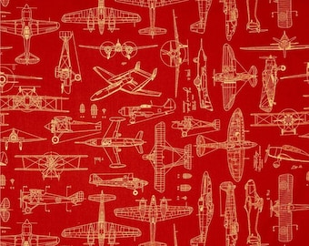 Blueprint fabric etsy quilting treasures aviator plane blueprints rust red airplanes blueprint 100 cotton fabric by the malvernweather Choice Image