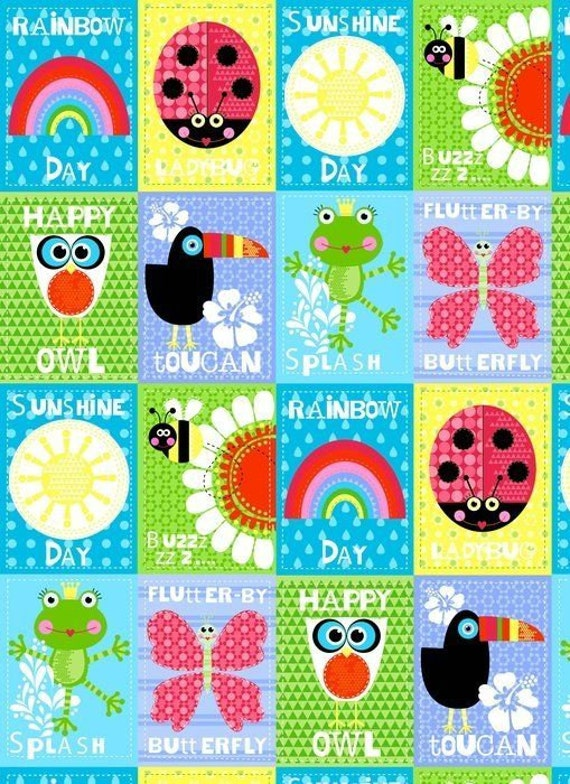 """Nursery Fabric: Sunshine Day Panel by Studio E with Lady bug, frog, toucan, owl, butterfly 100% cotton fabric by the PANEL 22.5""""x43"""" (K138)"""