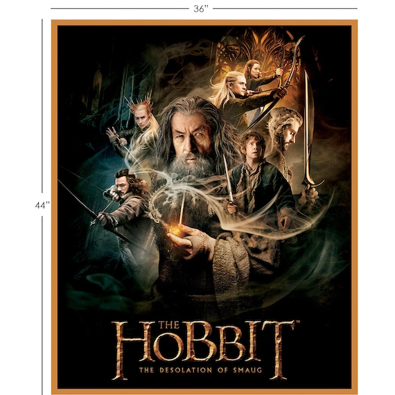 """The Hobbit and Lord of the Rings Characters Quilt Top Panel/ Wallhanging 100% cotton Fabric by the panel 36""""x44"""" ( CA619 )"""
