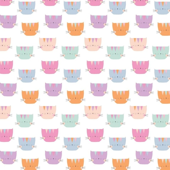 Cartoon Fabric, Cats Fabric: Camelot Looking Pawsome Perfect Kittens Cute Cats White Premium 100% cotton Fabric by the yard  (CA1005KK)