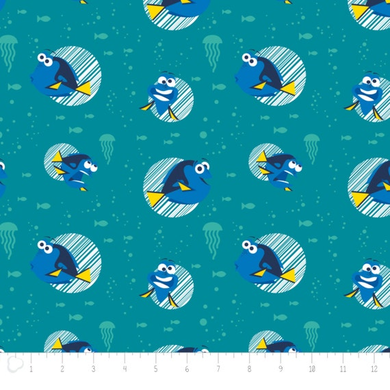 Finding Dory Dot in White Disney Camelot 100/% cotton Fabric by the yard