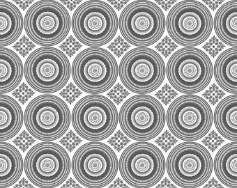 "Circles Fabric: Riley Blake Medallion Parisian Gray 100% cotton fabric by the yard 36""x44"" (K166)"