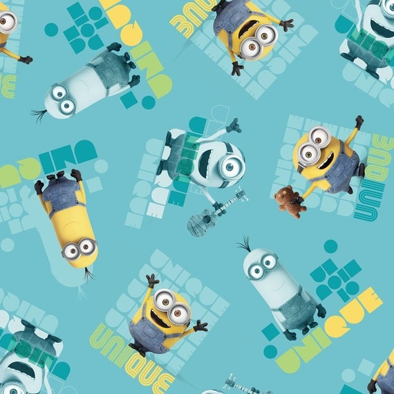 """Minion fabric: Despicable Me - Tossed Minion  Le Buddies TURQUOISE UNIQUE  100% cotton Fabric by the yard 36""""x43"""" (M8)"""