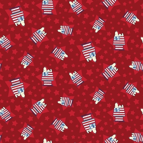 Cartoon Fabric, Patriotic Snoopy Fabric: The Peanuts Snoopy House Toss Flag Dog Houses Red  100% cotton fabric by the yard (SC1237KK)