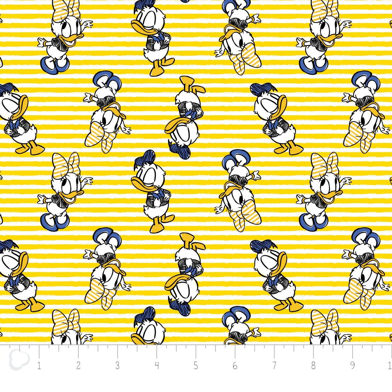 Disney Fabric Disney Daisy Donald Duck In Sunshine Yellow Etsy