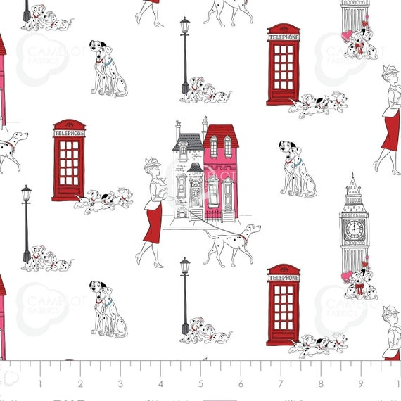 Disney Fabric, Cartoon Fabric: Camelot Disney 101 Dalmatians London Town Toile in White 100% cotton Fabric by the yard CA1201
