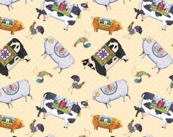Farm Animal Fabric - Jim Shore Village Farm Animals Fabric 100% cotton fabric By The Yard SC619