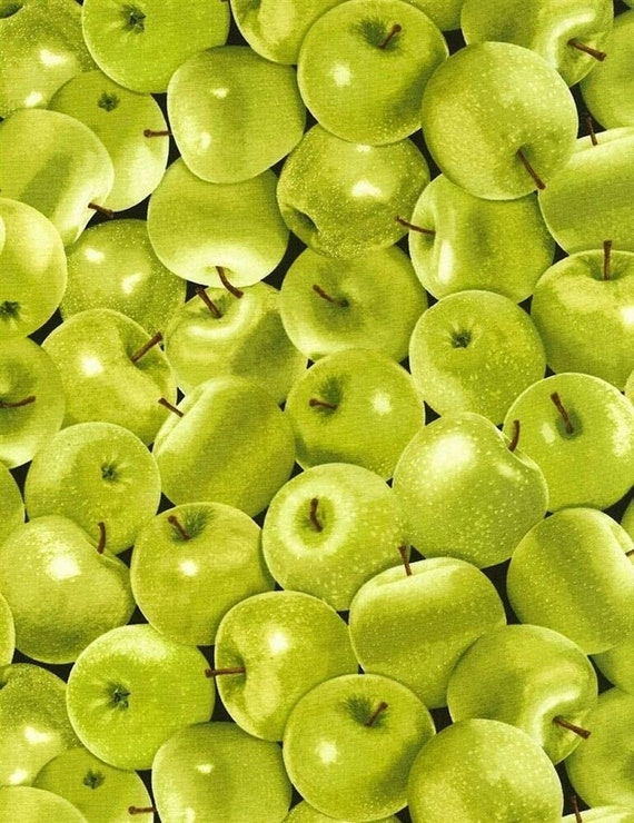 Fruit Fabric, Apple Fabric:  Timeless Treasures  Veedaf Food Fabric Packed Green Apples C5842 100% cotton Fabric by the yard  (TT769)