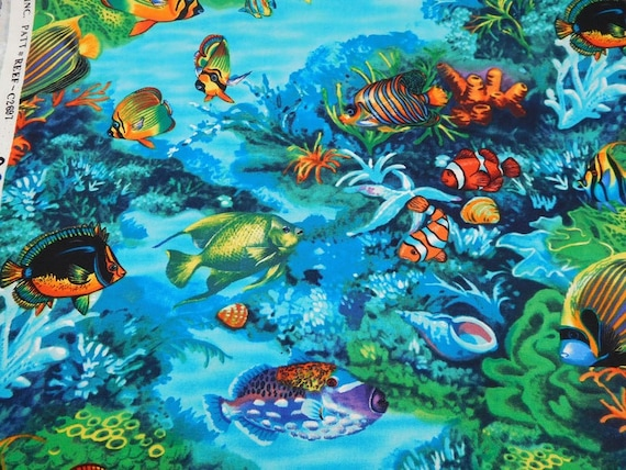 Fish Fabric: Timeless Treasures Reef C2697 Tropical Sea Scenic with fish   100% cotton fabric by the yard (TT1012)