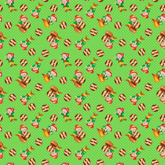 Kellogg Keebler Elf Cookie Toss Green Springs YARD Candy Fabric