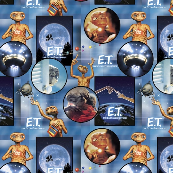 """ET Fabric, Universal Pictures Movie Fabric: E.T. the Extra-Terrestrial Across the Moon Scene 100% cotton fabric by the yard 36""""x43"""" (SC290)"""
