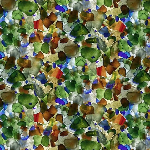 Pebbles Fabric, Rocks Fabric: Windham Fabrics Landscapes Mermaids Tail Multicolor Pebbles Premium  100% cotton Fabric By The Yard (M55KK)