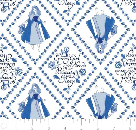 Disney Princess Fabric: Camelot Disney Princess Sleeping Beauty Aurora Blue White 100% cotton fabric by the yard (CA909KK)