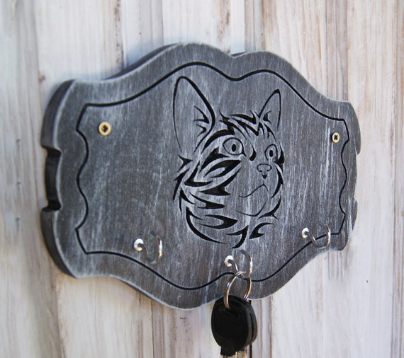 Unique Personalized Wood Key Holder For Wall Cat With 3 Hooks | Etsy