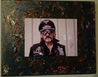 One of a kind Lemmy Kilmister in sunglasses photograph under 4x6 on a hand painted 8x10 canvas