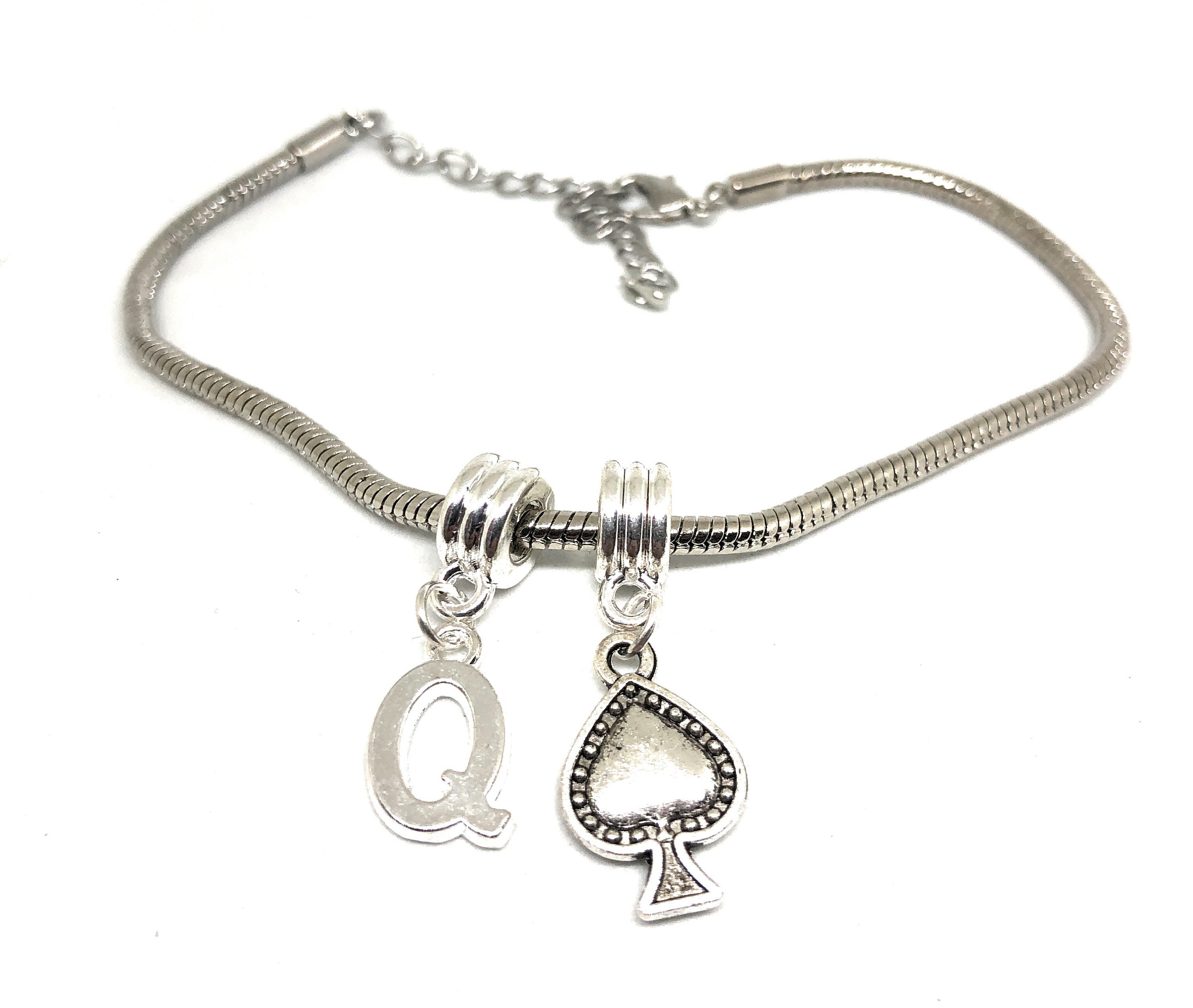Silver Queen of Spades Anklet or Necklace Crown and Spade ...