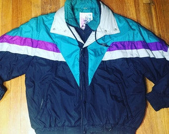 80s Fresh prince ski jacket windbreaker 90s clothing 90s neon ski jacket retro sweater 90s clothing vintage womans windbreaker